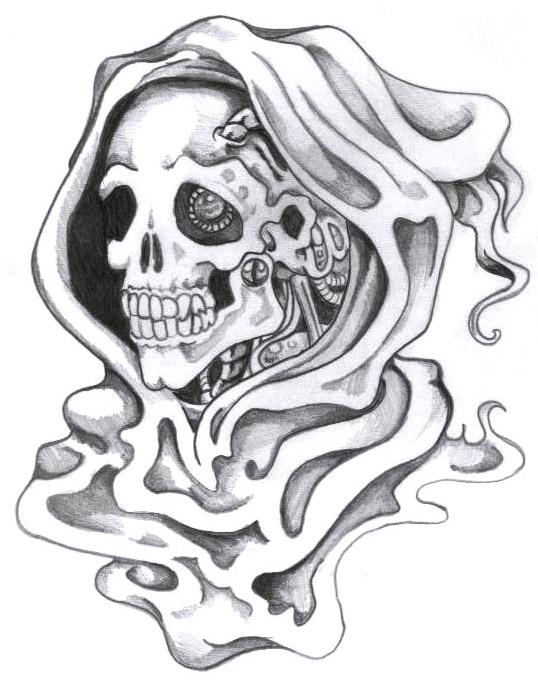 Horrible Black Color Ink Grim Reaper Death Tattoo Sample For Girls