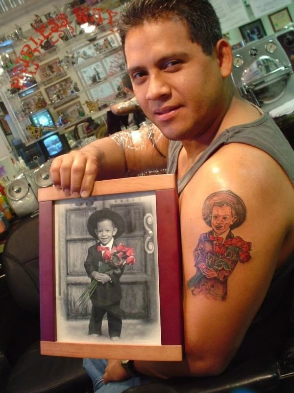 Horrible Black White And Red Color Ink Baby Boy Tattoo For Boys On Shoulder