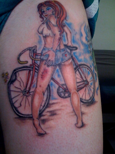 Horrible Blue Black And Red Color Ink Girl With Bicycle Tattoo Design For Girls