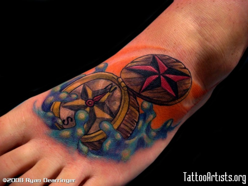 Horrible Blue Yellow Black And Red Color Ink Compass Foot Tattoo For Girls