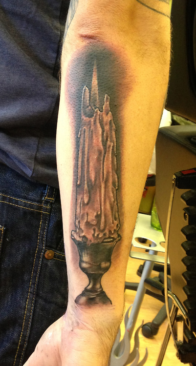 Horrible Brown And Black Color Ink Candle Holder Tattoo On Forearm For Boys