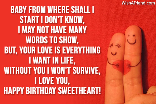 I Love You Happy Birthday Sweetheart Greeting Quotes
