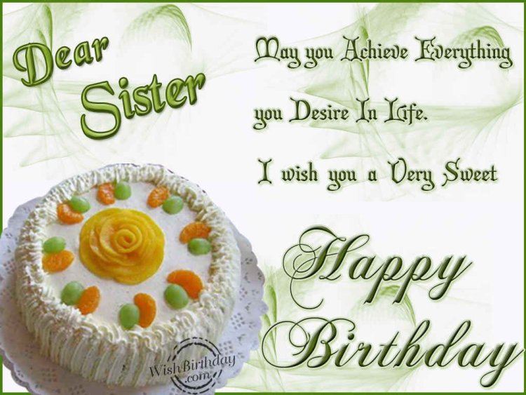 I Wish You A Very Sweet Happy Birthday Dear Sister Wishes Image