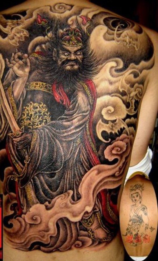 Impressive Black Red And Yellow Color Ink Full Back Tattoo Design For Boys
