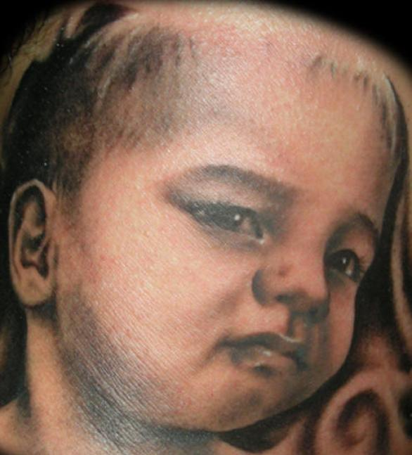 Impressive Black Color Ink Baby Tattoo For Boys
