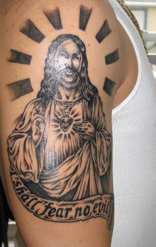 Impressive Black Color Ink Jesus Christ Tattoo Design For Boys