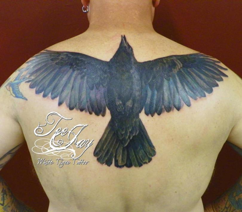 Impressive Blue And Black Color Ink Rick Rosine Crow Tattoo For Boys