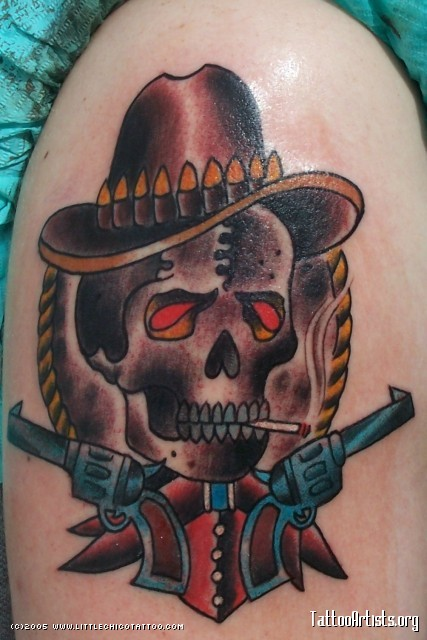 Impressive Blue Yellow Black And Red Color Ink Red Eyes Cowboy Skull Tattoo Design For Girls