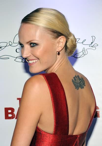 Impressive Grey Color Ink Tattoo On Celebrity Back For Girls