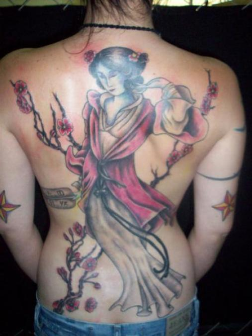 Incredible Black And Red Color Ink Asian Geisha Tattoo For Girl's Back For Girls