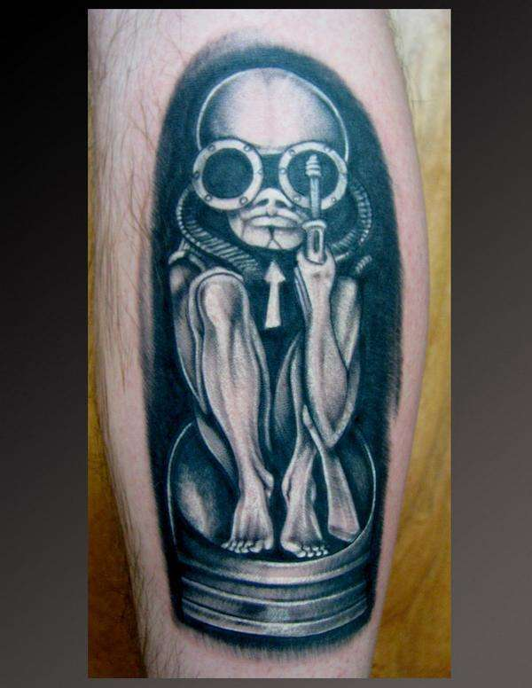 Incredible Grey Color Ink Alien Tattoo On Boy Arm