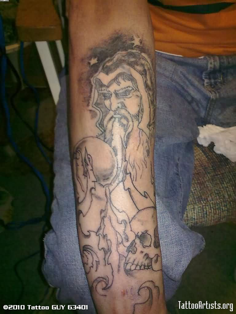 Incredible Wizard Tattoo On Arm For Male