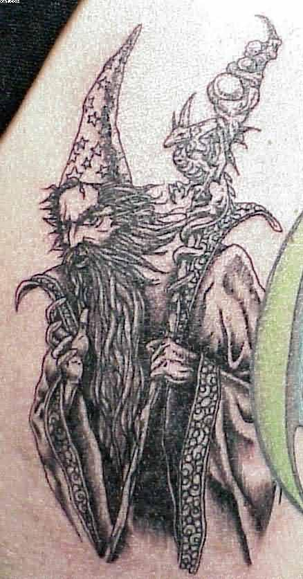 Incredible Wizard Tattoo With Magic Stic For Females