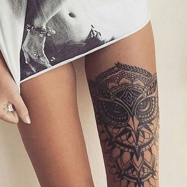 Incredilble Owl Tattoo For Woman On Sexy Legs Leg Tattoo