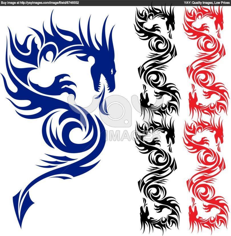Innovative Black Red And Blue Color Ink Asian Dragon Tattoo Designs For Boys