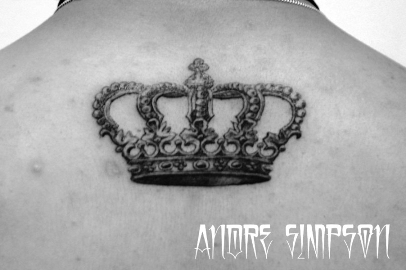 Innovative Black n White Color ink Crown Tattoo Design For Boys