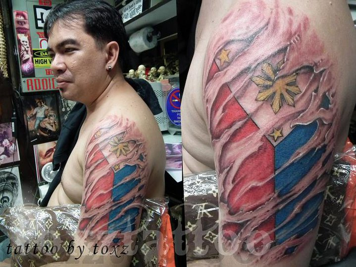 Innovative Blue Yellow Black And Red Color Ink Philippine Flag Tattoo Designs For Boys