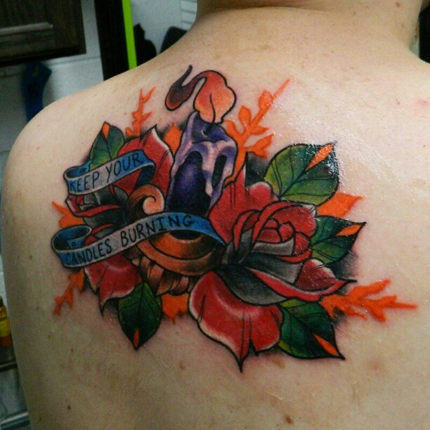 Innovative Green Blue Black And Red Color Ink Candle Roses & Banner Tattoo On Back For Boys
