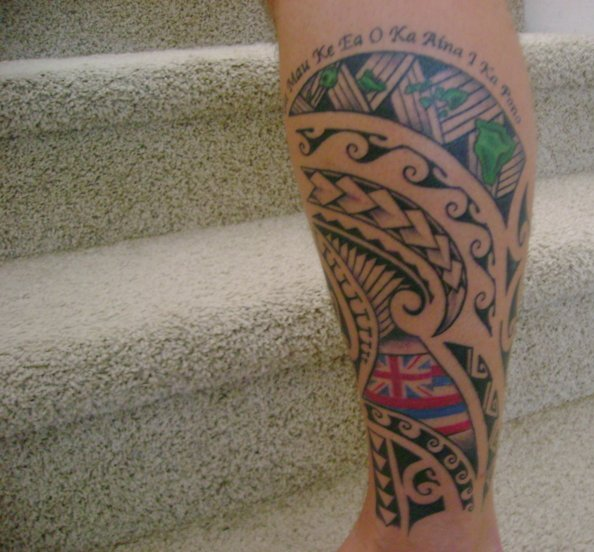 Innovative Green Blue Black Color Ink Chip Tattoo On Leg For Boys