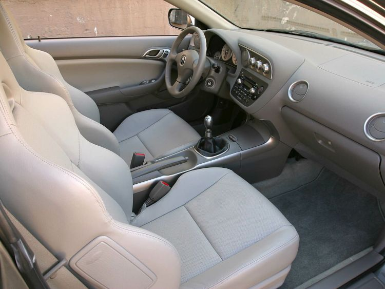 Inside view of White seat Acura RSX Car