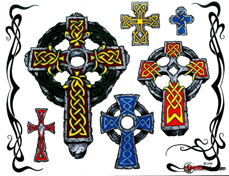 Inspirational Black And Yellow Color Ink Celtic Cross Tattoo Designs For Girls