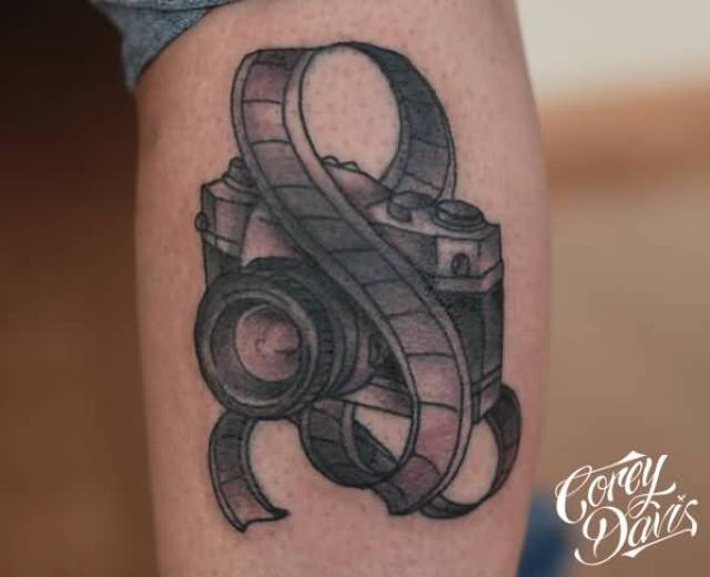 Inspirational Black Color Ink Camera With Film Tattoo For Arm Boys Tattoo