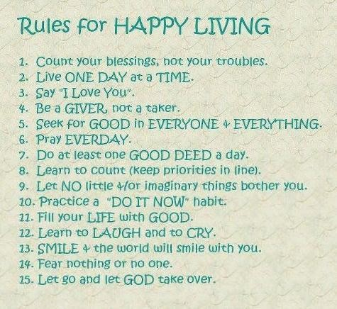 Inspirational Happiness Quotes Rules for happy living