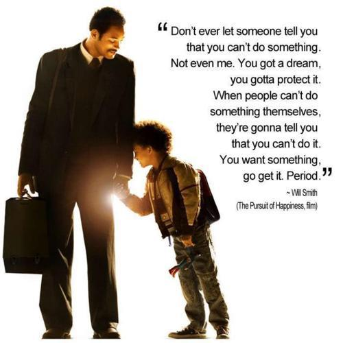 Inspirational Happiness Sayings Don't ever let someone tell you that you can't do something.not even me Will Smith