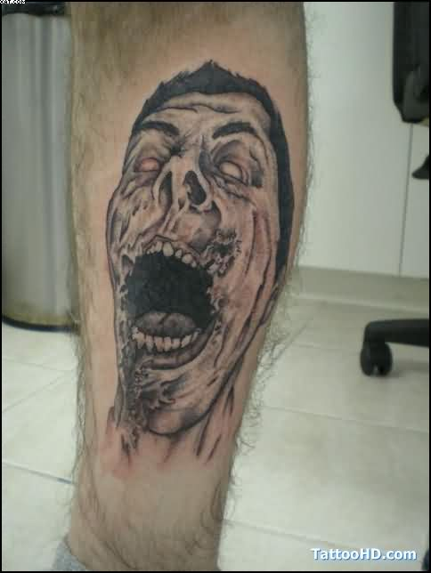 Inspirational Rob Zombie Tattoo On Leg On Calf