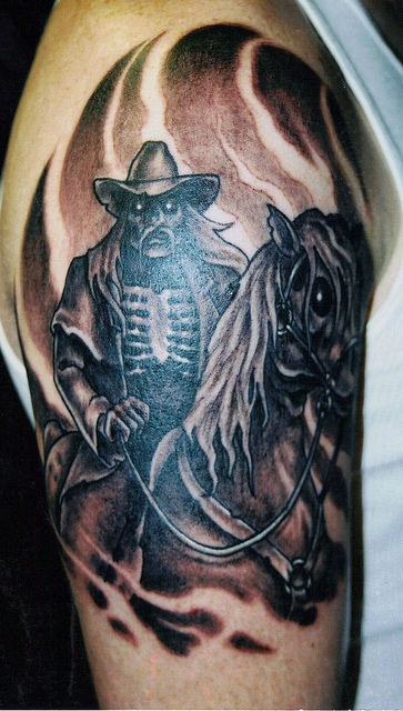 Inspiring Black And Red Color Ink Cowboy On Horse Tattoo Design For Boys