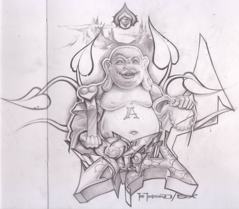 Inspiring Black Color Buddha Sketch Tattoo For Tattoo Fans