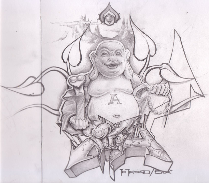 Inspiring Black Color Buddha Sketch Tattoo For Tattoo Fans