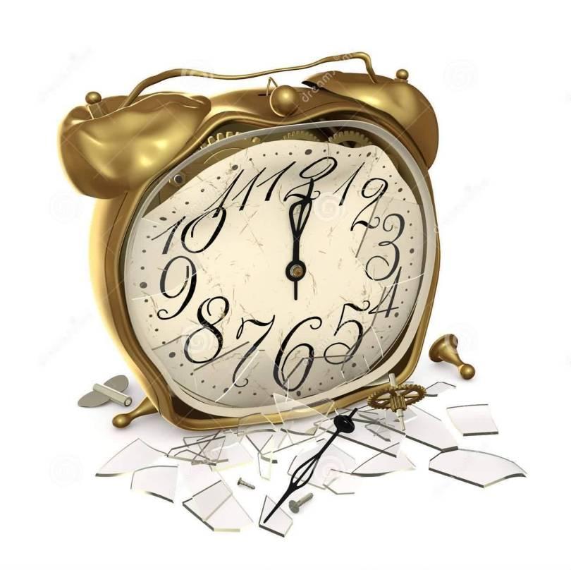 Inspiring Golden Color Ink Broken Alarm Clock Tattoo Design For Boys