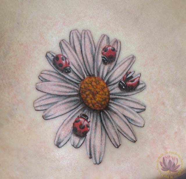 Inspiring Yellow And White Color Ink Ladybugs On Daisy Flower Tattoo Design For Girls