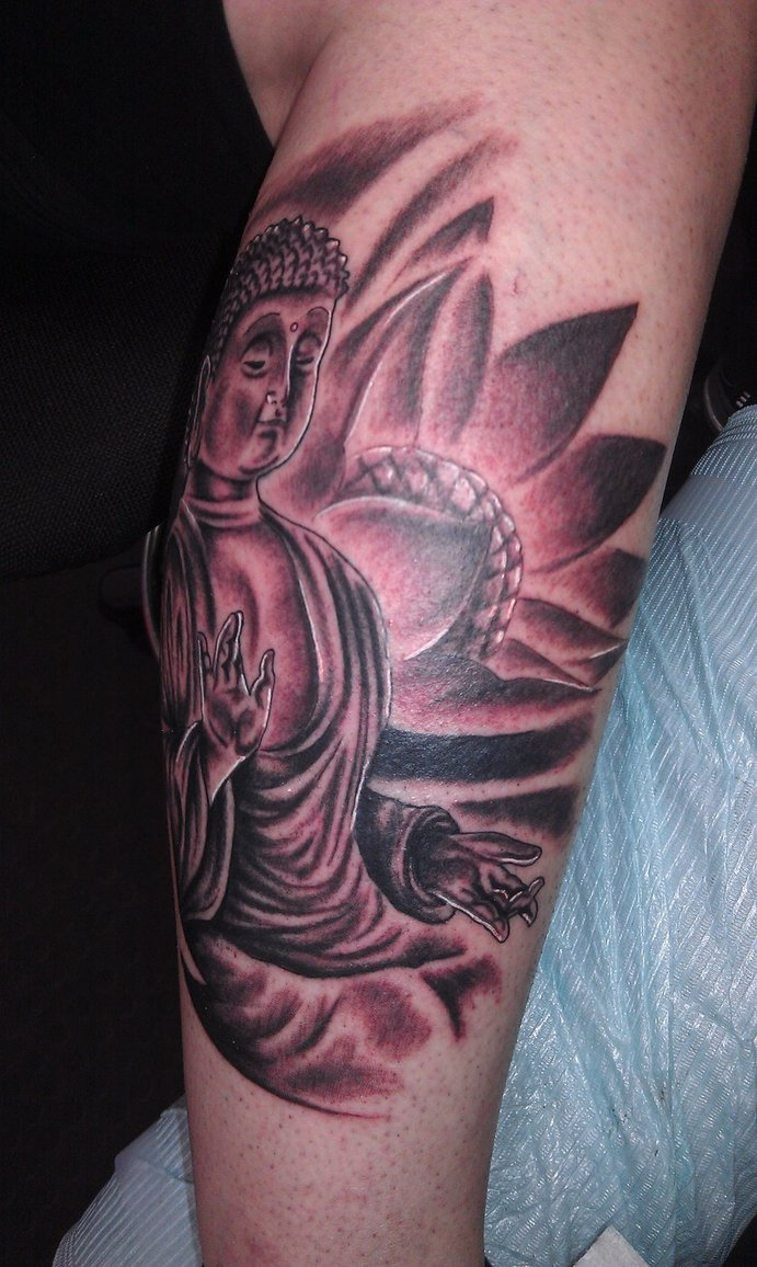 Latest Black And Red Color Ink Buddhist With Lotus Tattoo On Elbow On Arm For Girls