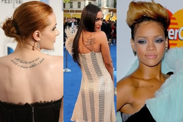 Latest Black Color Ink Celebrity Tattoo Designs On Back For Girls