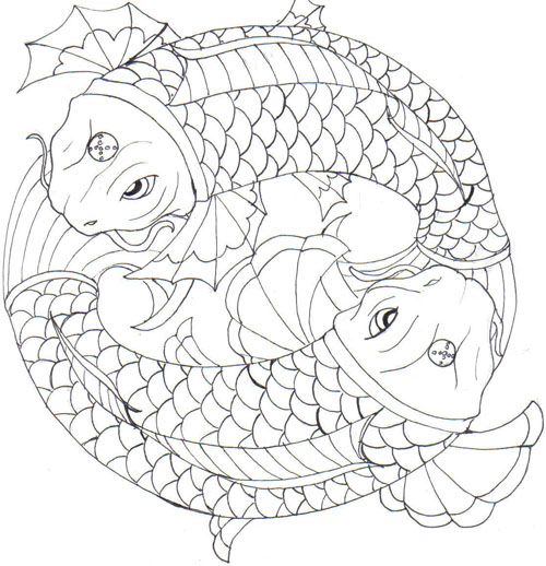 Latest Black Color Ink Koi Fishes Circle Tattoo Design For Girls