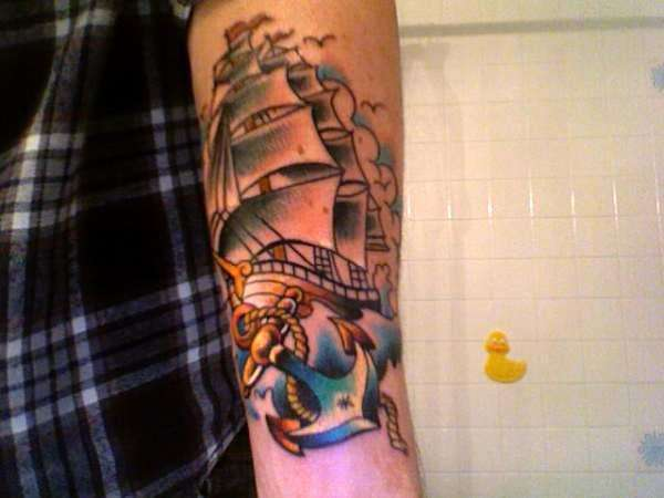 Latest Blue And Red Color Ink Anchor & Ship Tattoo For Girls