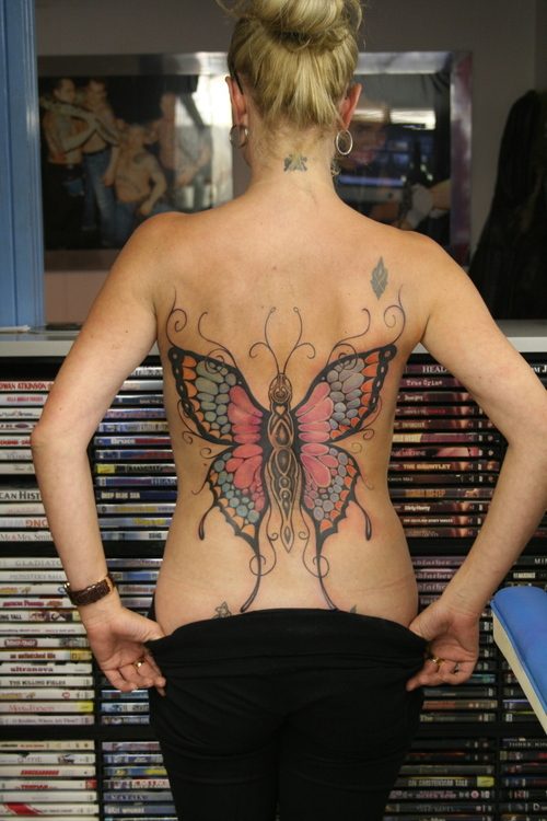 Latest Blue Black And Red Color Ink Big Butterfly Tattoo On Back For Girls