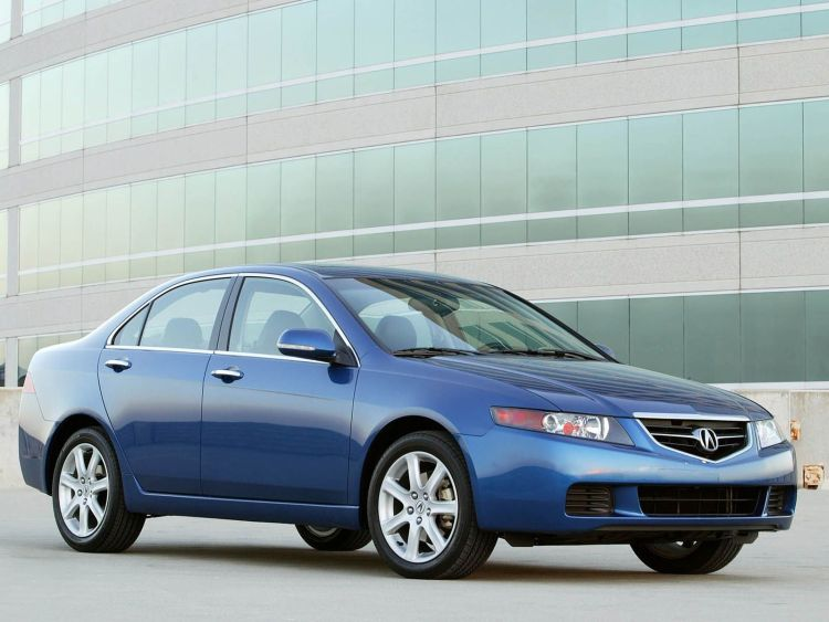 Left side of blue beautiful Acura TSX car
