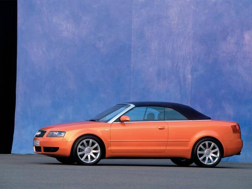 Left side view of beautiful orange colour Audi A4 Cabriolet car