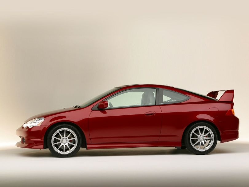 Left side view of red beautiful Acura RSX Car