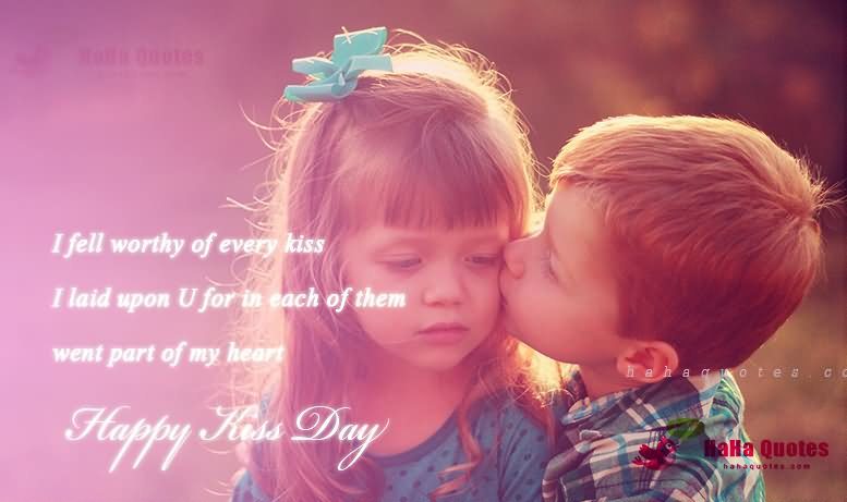Little Boy Kiss Girl On Happy Kiss Day Greeting Quotes Image