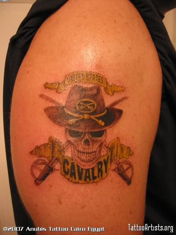 Lovely Black And Red Color Ink Army Skull Tattoo On Biceps For Boys