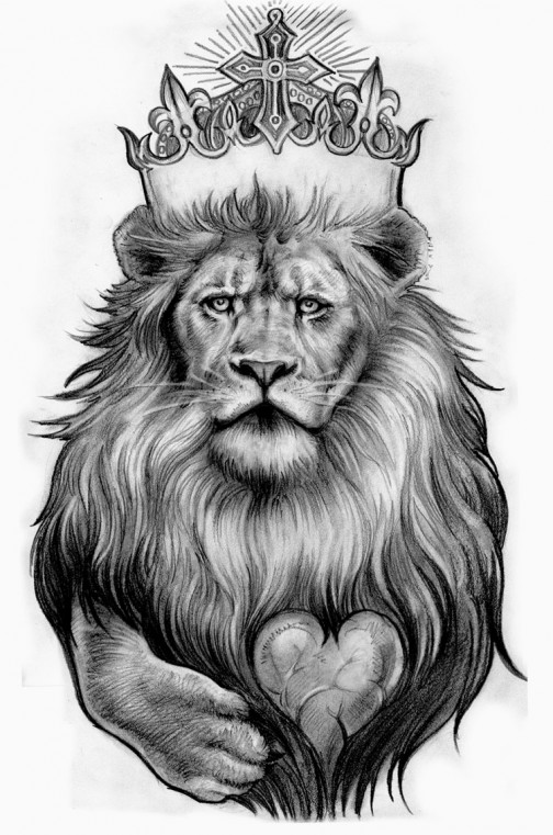 Lovely Black And White Color Ink Lion Crown Tattoo Design For Girls