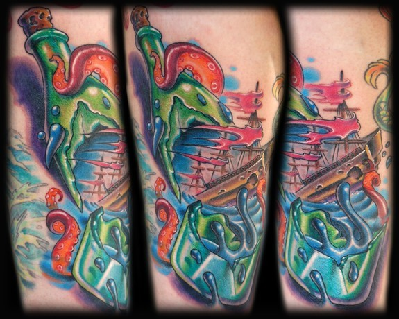 Lovely Green Blue And Red Color Ink Broken Green Bottle Leg Tattoo For Girls