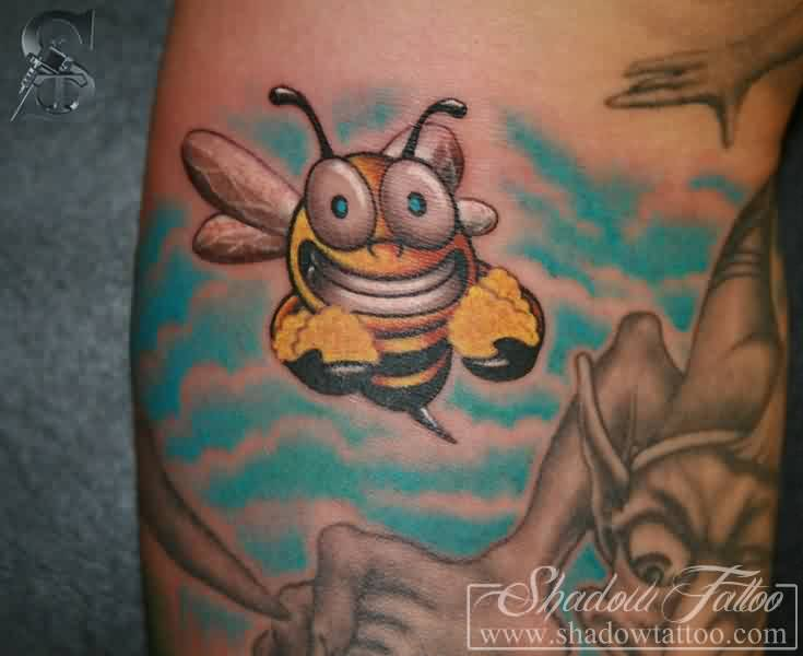 Maori Black Yellow And Blue Color Ink Bee Biene Comic Tattoo Design On Leg For Girls