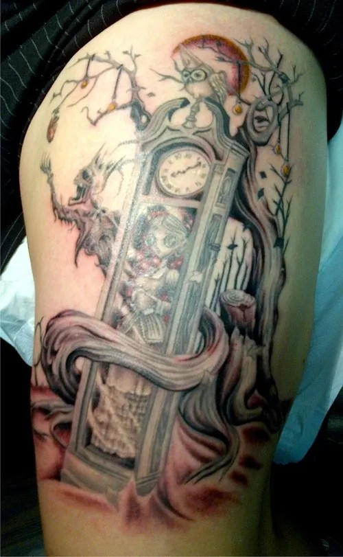 Maori Red And Black Color Ink Grandfather Clock And Tree Tattoos On Thigh For Boys