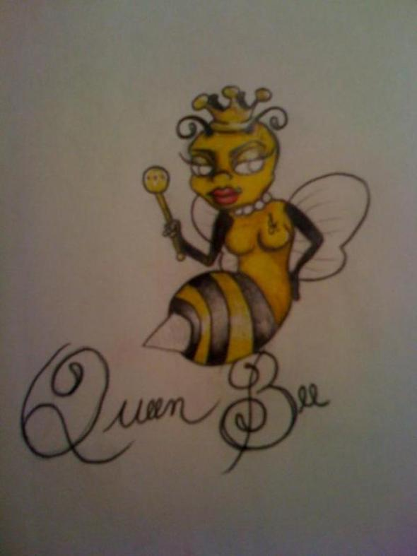 Marvel Black and Yellow Color Ink Queen Bee Tattoo Design For Girls Tattoo