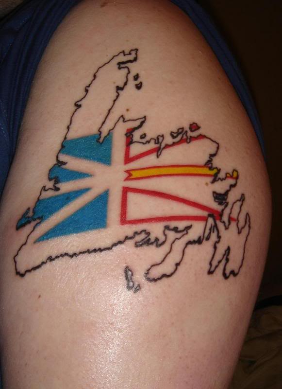 Marvel Blue Yellow Black And Red Color Ink Newfoundland Flag Tattoo Design For Girls